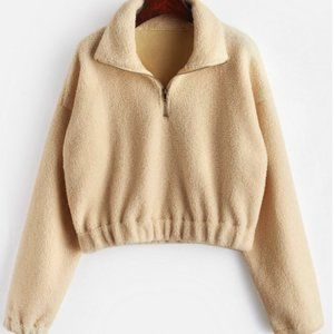 Half-Zip Faux Fur Teddy Jacket (Tan)